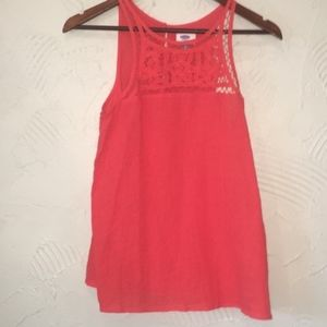 Red Lace Crochet Tank Top